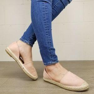 Shoes - Rose Vegan Suede Flat Slip On Loafer Espadrille -J